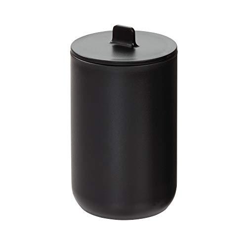 iDesign Rangement Coton avec Couvercle, Rangement Salle de Bain Rond pour Cosmétiques et Maquillage, Pot de Rangement à cotons et Cotons-Tiges en Plastique, Noir