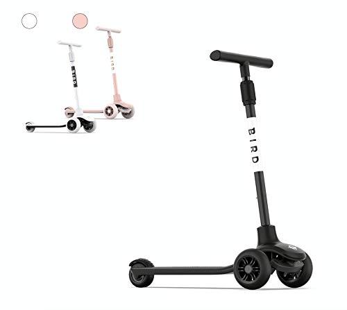 Birdie Patinete Bird Kick para niños, 3 ruedas, mango de altura ajustable, inclinación a dirección, freno trasero (negro azabache)