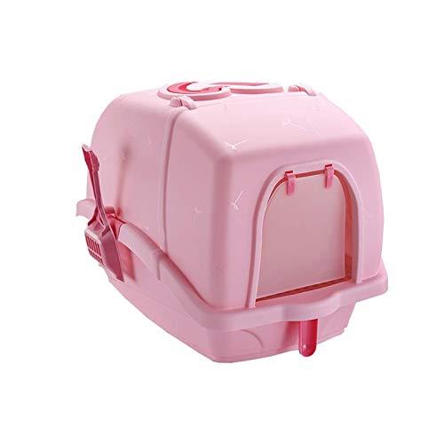 HAI RONG Caja de Arena Limpia Caja de Arena de Gato de plástico Totalmente Cerrado a Prueba de Salpicaduras Desodorante Mascota Gato Inodoro Caja para Mascotas Interior Premium (Color : Pink)