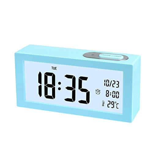 SOCICO Digital Wecker, Digital Wecker Uhr mit Großer LCD Display Datum und Temperatur Anzeige mit Snooze und Nachtlicht Funktion für Kinder, Zuhause, Schlafzimmer (Blau)