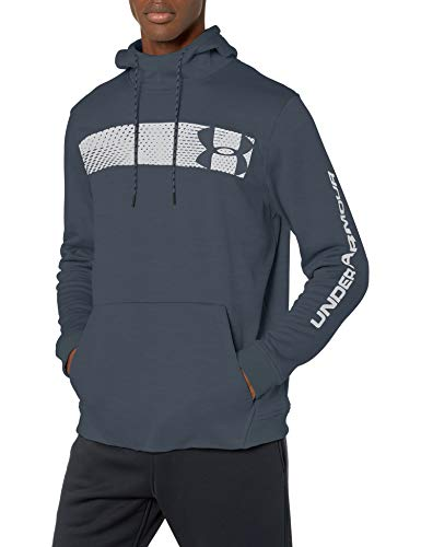 Under Armour Armour Fleece Pullover Hoodie bar Logo Graphic, wire//Black, Large