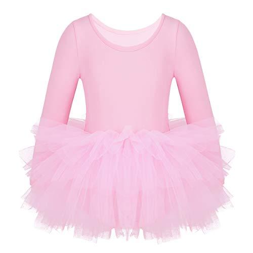 ranrann Vestido de Danza Ballet Manga Larga para Niña Maillot de Gimnasia Rítmica con Falda Tul Leotardo Elástico de Baile Disfraz de Bailarina Rosa 3-4 Años