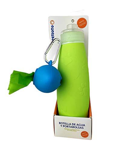 Botella de Agua Grande + Dispensador de Bolsas | Silicona 600 ml Perros Grandes