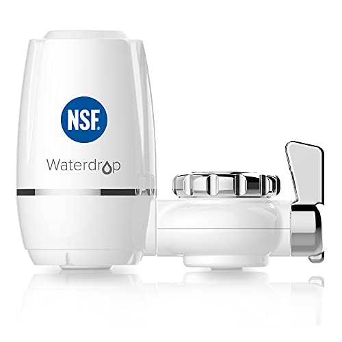 Waterdrop WD-FC-03 NSF Certified, Long-Life Water Faucet Filtration System, Faucet Water Filter, Tap Water Filter, Reduces Chlorine, Taste & Odor - Fits Standard Faucets (1 Filter Included)
