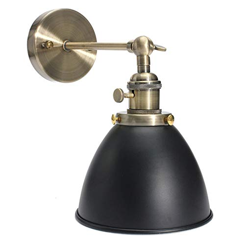 Lámpara de pared retro E27 Vintage Vintage Vintage Industrial Bowl Sconce Loft rústico negro/blanco hierro material pared accesorio (Color del cuerpo: Negro)