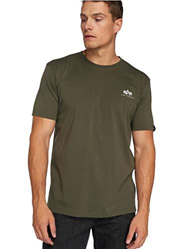 ALPHA INDUSTRIES Herren Basic T Small Logo T-Shirt, Dark Olive, XL