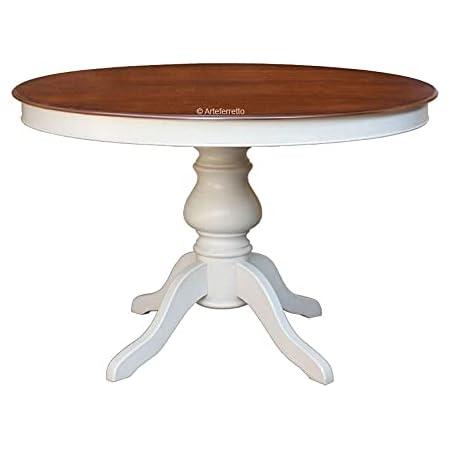 Arteferretto Table à Manger Extensible Bicolore - diamètre 100 cm