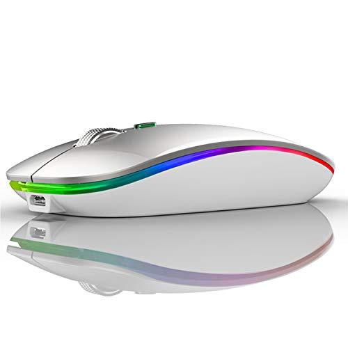 Ratón Inalámbrico Recargable, Ultra Delgado Receptor Nano Wireless Mouse 1600 dpi Ajustables Silencioso Mini Mouse Multicolor LED para Computadora Portátil, PC, Portátil, Computadora, Macbook