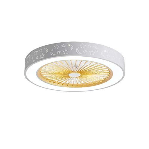 ASPZQ Ventilador de Techo Moderno LED con Control Remoto Iluminación Silencio Ajustable Luz Techo Regulable 3 Velocidades Viento para La Sala Estar del Dormitorio, 15 Colores