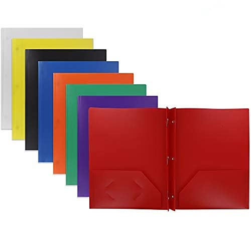 Emraw 2 Pocket Poly Portfolio Two Pockets Folder with 3 Prongs and Business Card Holder Organizer Designed for Home, Office, School, Classroom and More - Actual Colors May Vary (Pack of 6)