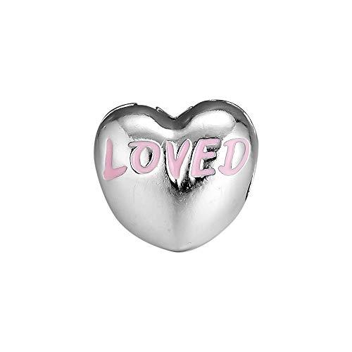 Diy 925 Pandora Colgante Se Adapta A Pulseras De Plata Esterlina Genuina Amado Corazón Clip Encanto En Polvo Cuentas Rosadas Para La Fabricación De Joyas