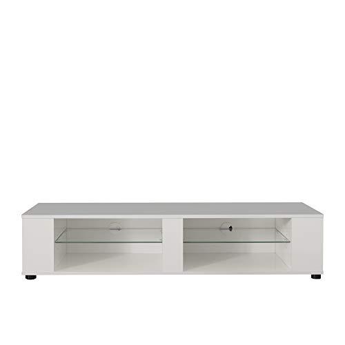 trendteam smart living Wohnzimmer Lowboard Fernsehschrank Fernsehtisch Hennes, 140 x 30 x 40 cm zum Hängen und Stellen geeignet in Weiß Glanz mit viel Stauraum und Ablagefläche