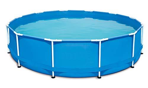 HAFIX Piscina con marco de metal – Diámetro 366 x 91 cm. Piscina redonda para jardín, terraza, piscina sobre suelo