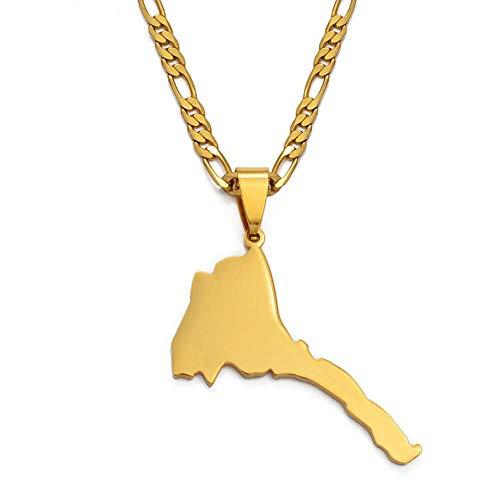n a Eritrea Karte Anhänger Figaro Kette Für Frauen/männer Gold Farbe Schmuck Afrika Eritreischen Karten Ethnische Geschenke