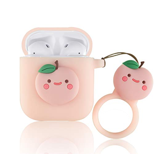 Ownest Compatible with AirPods Case with Girls Cute Fruit Soft Silicone Shockproof No Dust AirPods Cover Case for Airpods 2 &1,Cute for Airpods-Peach