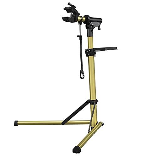 SONGMICS Fahrradmontageständer, Aluminium Montageständer für Fahrräder, Reparaturständer mit magnetischer Werkzeugschale, Reparaturset, höhenverstellbar, leicht, glänzend, goldfarben SBR004A01