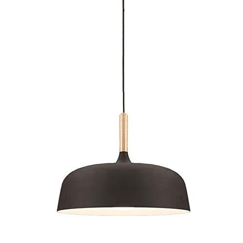 Lámpara colgante retro negra para comedor, de madera y metal, con pantalla de metal, casquillo E27, altura regulable, para comedor, salón, dormitorio, cocina, mostrador.