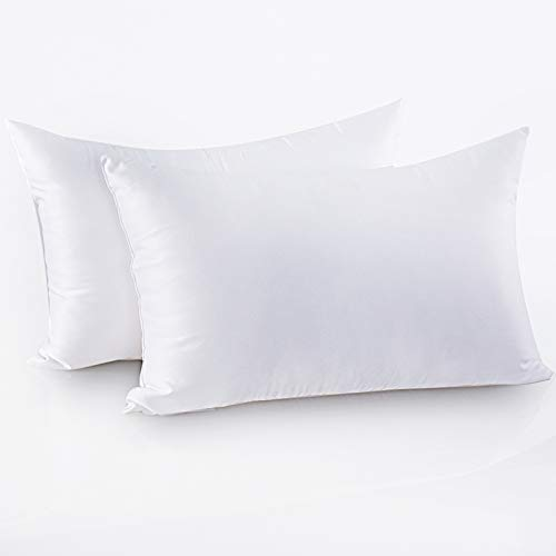 Friendriver Luxury Hotel Quality Bed Pillow [Set of 2] Family Plush Gel Bed Pillow,Suitable for Side and Back Sleeping Pillows,Soft and Breathable Polyester Fiber Filling(Queen Size,White)