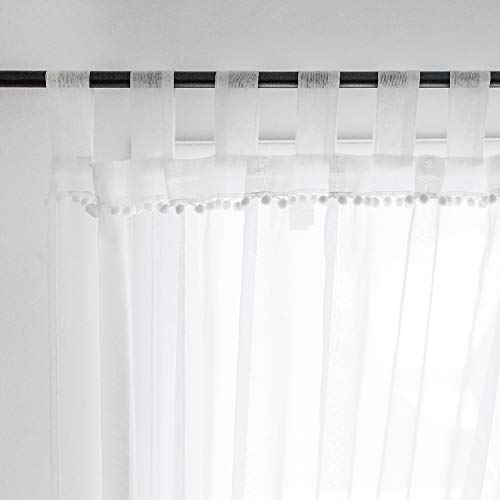 Selectex Linen Look Pom Pom Tasseled Sheer Curtains – Tab Top Voile Curtains for Living and Bedroom, Set of 2 Curtain Panels (52 x 63 inch, White)
