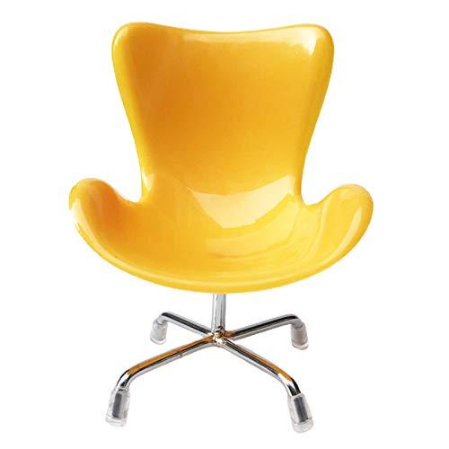 GRASARY Miniatur Kunststoff Schwan Stuhl Form Möbel Wohnzimmer Dekor Für 1/6 Puppenhaus, Perfekte DIY Puppenhaus Spielzeug Geschenkset Gelb
