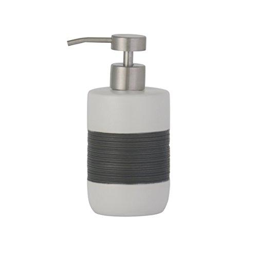 Ribelli Seifenspender Keramik weiß/Grau Seifendosierer Spülmittelspender Flüssigseife