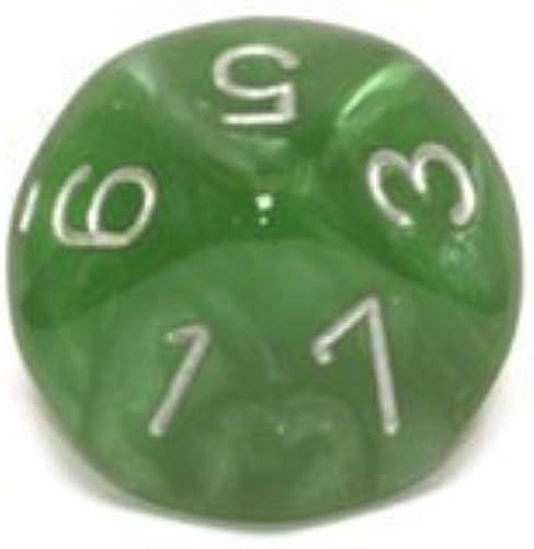 Chessex Dice Sets  Velvet Grün with Silber - Ten Sided Die d10 Set (10)