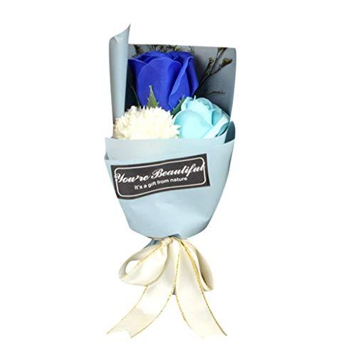 Oppal Caja perfumada para baño, pétalo, Flor de Rosa, jabón, decoración de Boda, Regalo, Mejor, decoración del hogar para el día de Pascua (Azul)