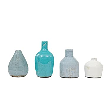 Creative Co-Op DA1092 Set of 4 Blue & Ivory Terracotta Vases