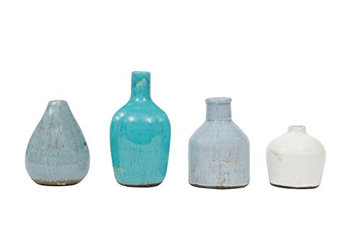 Creative Co-Op DA1092 Set of 4 Blue & Ivory Terracotta Vases,Blue and Ivory
