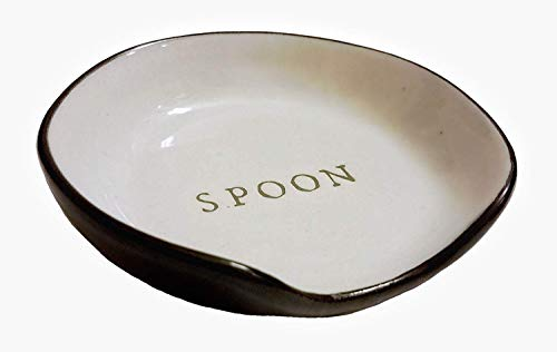 Hearth and Hand with Magnolia Stoneware Spoon Rest Cream/Black Joanna Gaines Collection (Standard version) (Newest Version)