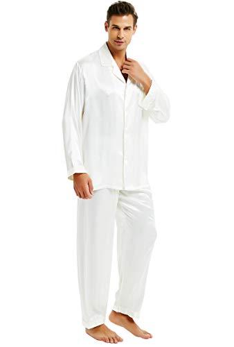 Mens Silk Satin Pajamas Set Sleepwear Loungewear White 3XL