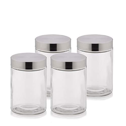 Kela 390170 Vorratsdosen-Set, 4-teilig, Glas mit 18/10 Edelstahl-Deckel, Rund, 1,2 l, Bera