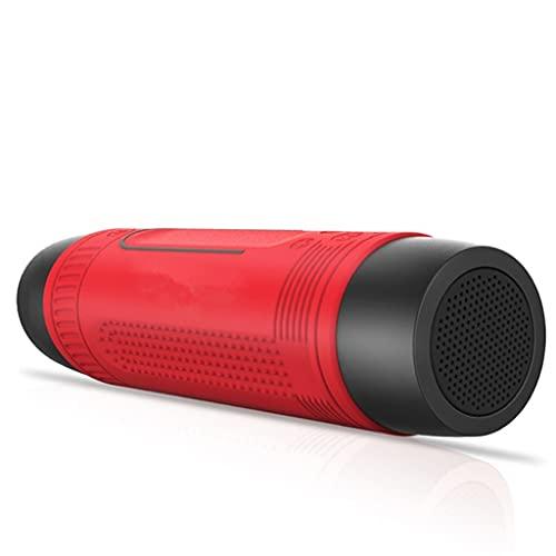 RYSF Bluetooth-Lautsprecher Outdoor Fahrrad Tragbarer Subwoofer Bass Drahtlose Säule FM-Radio Power Bank + Taschenlampe + Fahrradhalterung (Color : Red)