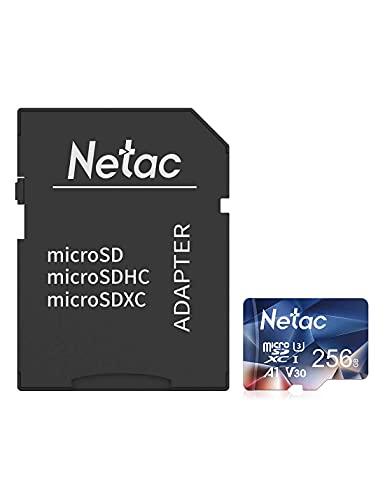 Netac microSD 256GB microSDXC UHS-I 最大100MB/s U3 A1 V30 C10 Full HD Nintendo Switch対応 メーカー正規品認証 SDアダプター付 - P500256A