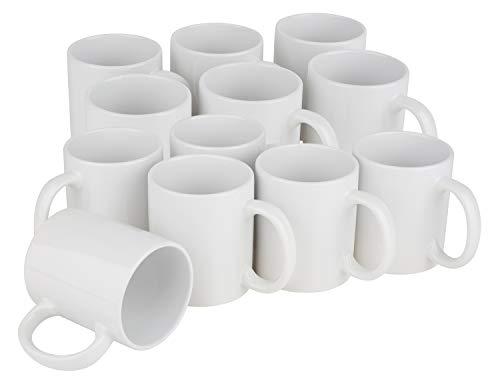 VBS Großhandelspackung Porzellan-Kaffeebecher 12er-Pack weiß 300ml 9x8cm
