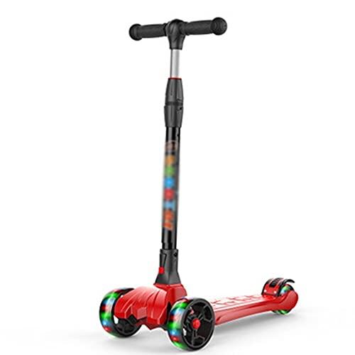 WHOJS Patinete con Rueda Flash de PU Altura Ajustable Scooter de 4 Ruedas Dirección por Gravedad Adecuado for Niños de 3 a 12 Años Construcción Ligera(Color:Rojo)