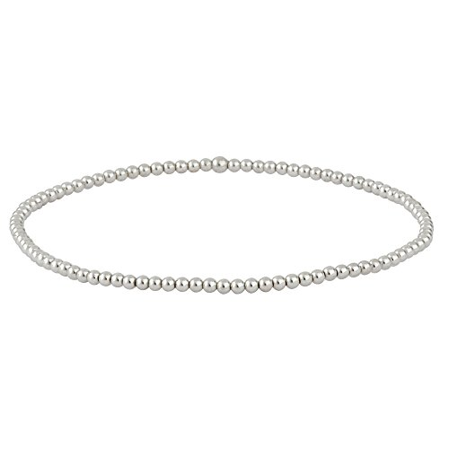 Silverly Women's .925 Sterling Silver Polished Triple Tiny Bead Ball Elastic Stretch Bracelet