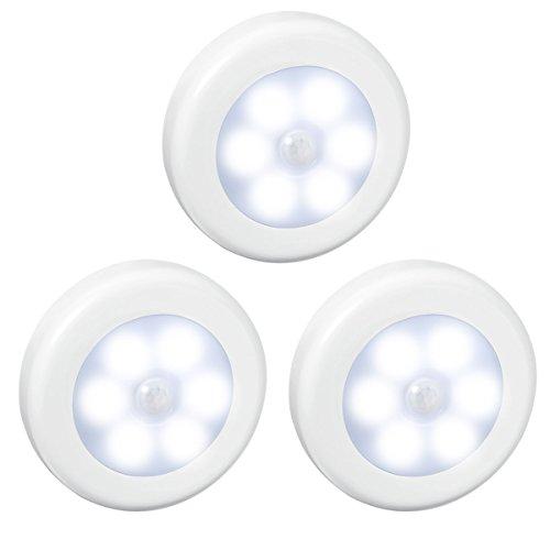 Bewegungssensor Licht,Wireless PIR Bewegungs aktiviert,6LED Licht,Packung mit 3 runden Lampen,Batterie betriebenes LED-Licht, Haftmagnetstreifen,überall anheften Unodeco U039