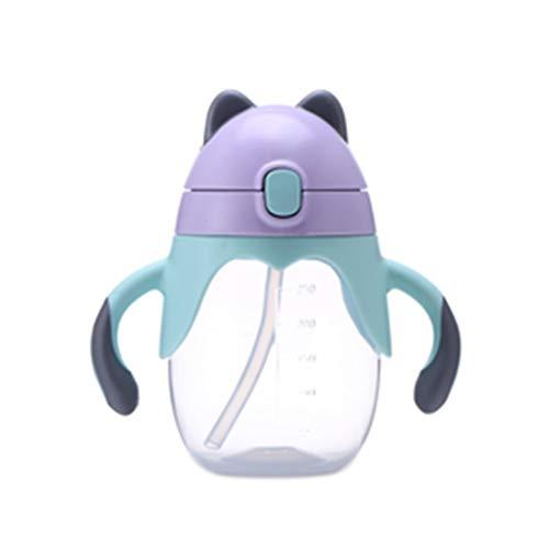 CandyTT Taza para Beber de Aprendizaje para bebés Botella de Paja de Leche de Agua de 360 Grados con asa Taza de Entrenamiento Segura para Aprender a Beber a Prueba de Fugas (púrpura)
