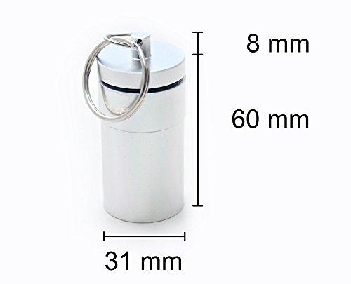 Pillendose silber 68 x 31 mm Pillenbox Tablettendose Schlüsselanhänger Alu Mini Box Dose Pillen Kapsel Aufbewahrungsbox