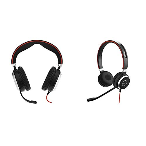 Jabra Evolve 80 - Professional Stereo Noise Cancelling Wired Headset/Music Headphones - MS Bundle with Jabra Evolve 40 Stereo UC - Professional Unified Communicaton Headset