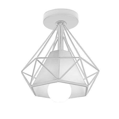 Sencilla Lámpara de Techo Industrial LED Lámpara Colgante Retro Mini Plafón Φ20cm Sombra en Forma de Diamante, Perfecto Iluminación y Decoración Porche Dormitorio Salade estar Corridor (Blanco)
