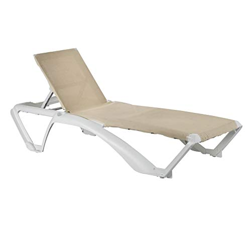 Resol Marina Garden Sun Lounger Bed - Adjustable Reclining Outdoor Patio Canvas Furniture - Neutral/White