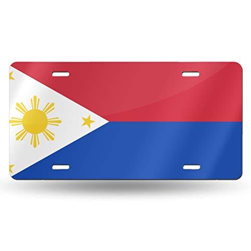Zpla-Q Filipino Flag Aluminum License Plate Frame Cover for Car Decoration 6' X 12'