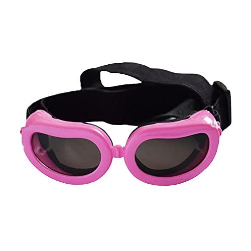 Gafas de protección para perros pequeños con correa ajustable, antiUV, resistente al viento, impermeables, a prueba de nieve, para mascotas y perros, marco suave, para cachorros y gatos, color rosa