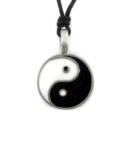 Mystical & Magical Pewter Yin Yang Symbol Chinese Black & White Taijitu Ying Pendant Necklace