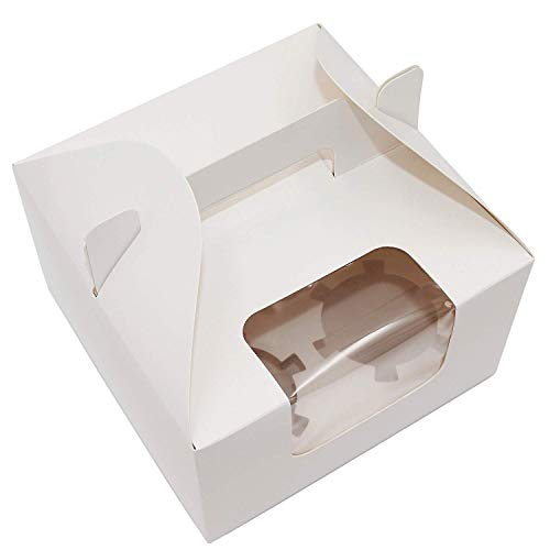 Cupcake Boxes 4 Cavity Holds with Window, Handle and Inserts Cardboard Cake Muffin Gift Cupcake Holders Pack of 6 (White)