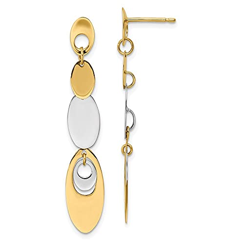 14k Two tone Gold Polished Post Dangle Earrings Measures 45.5mm long Jewelry Gifts for Women