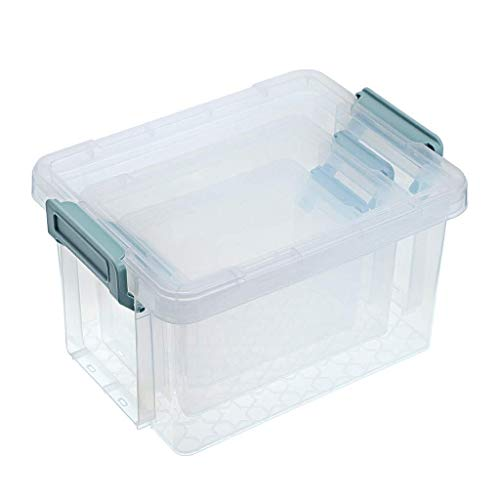 3 Size Transparent Plastic Storage Containers with Blue Snap - Multifunctional Home Utility Boxes Stationery Box Medicine Chest Plastic Organizer, 0.86L, 1.76L, 3.7L (Color : Green)