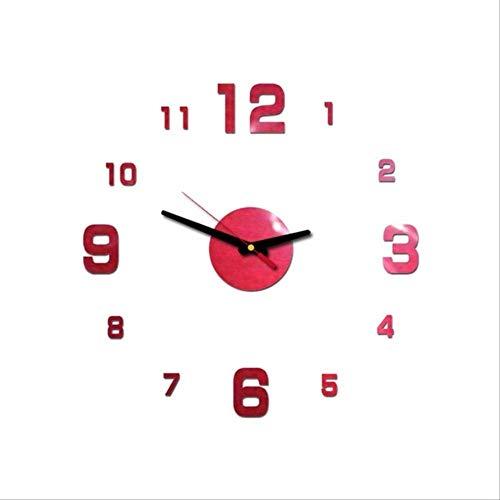 Baimu Wanduhr Groß Modern DIY 3D Römischen Zahlen Uhr Wanduhr Wohnkultur Spiegel Wandaufkleber 4 Farben Acryl Spiegelwände Aufkleber Wanduhren Dekor rot